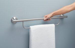 Grab bar towel holder